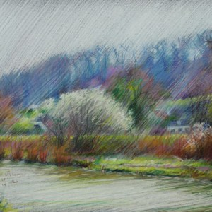 impressionistic landscape colored pencil drawing