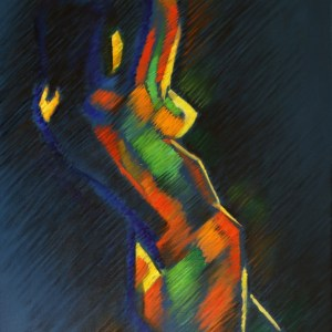 cubist expressionistic nude oil painting