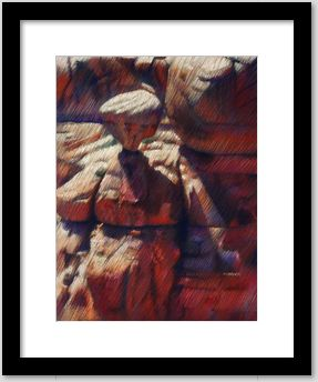 framing example of an impressionistic canyon pastel drawing