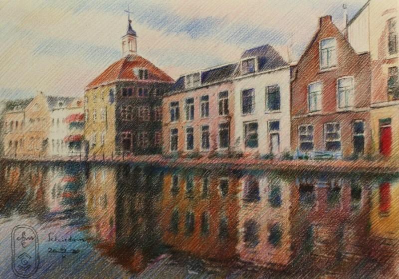 impressionistic urban colored pencil drawing