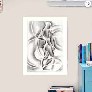 cubist nude graphite pencil drawing art print
