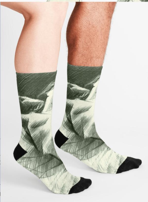 cubistic nude graphite pencil drawing socks mockup