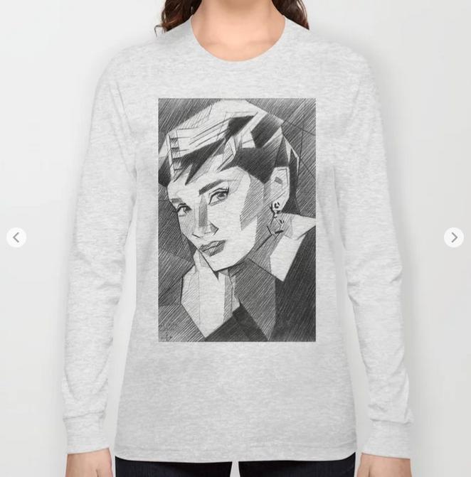 cubistic audrey hepburn portrait graphite pencil drawing long sleeve t-shirt mockup