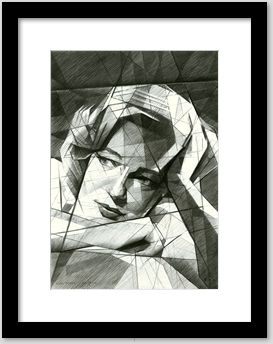 cubistic simone signoret graphite pencil drawing framing example