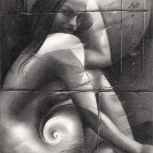 surrealist nude graphite pencil drawing