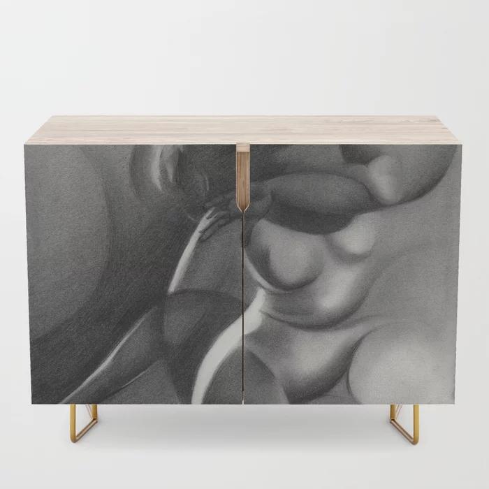 cubist nude graphite pencil drawing credenza mockup