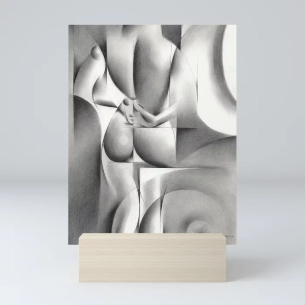 cubist nude graphite pencil drawing mini art print mockup