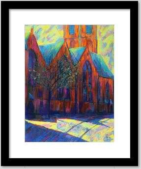 expressionist church pastel drawing framing example
