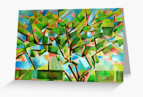 cubistic treescape oil painting greeting card mockup