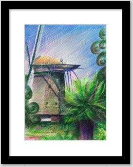 cubist landscape colored pencil drawing framing example