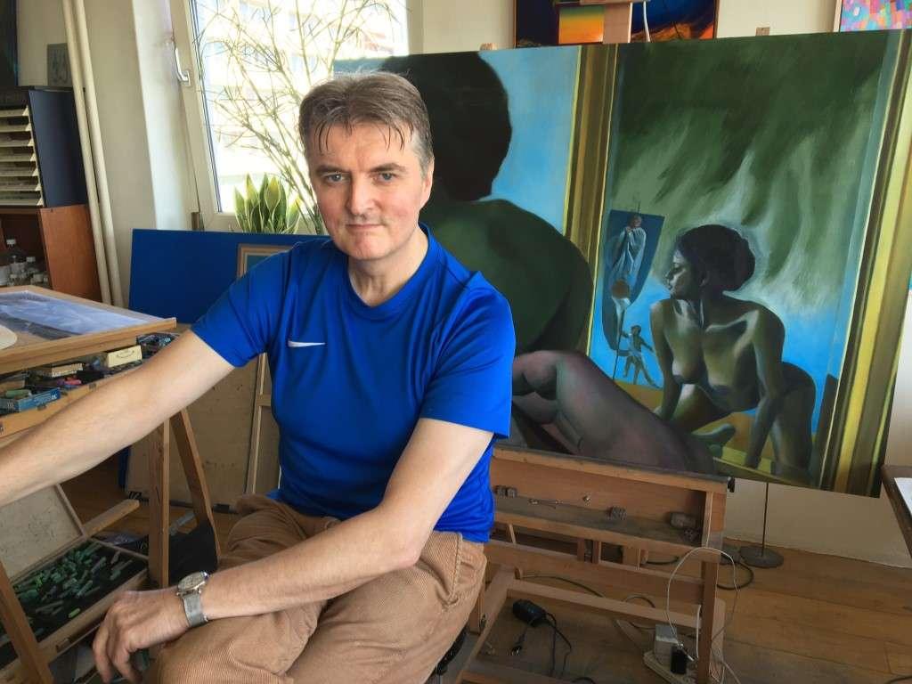 surrealist nude oil painting work in progress