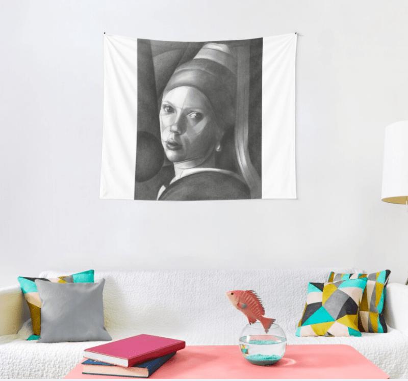 cubist scarlett johansson portrait graphite pencil drawing tapestry mockup