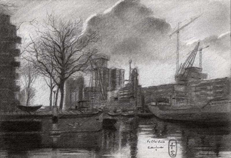 impressionist harbour graphite pencil drawing