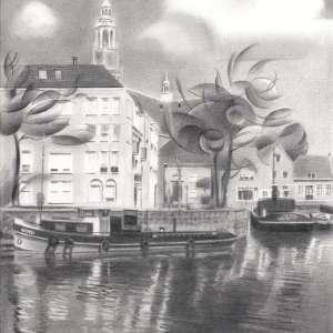 realistic cityscape graphite pencil drawing