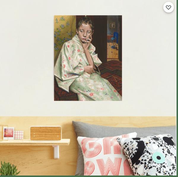 cubist portrait oil painting photographic print mockup