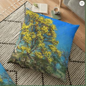 impressionist landscape pasel drawing floor pillow mockup