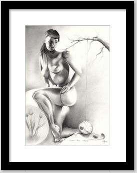 surrealist pin-up graphite pencil drawing framing example