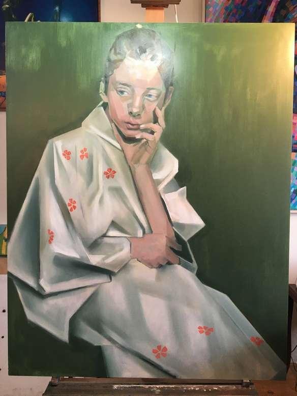 cubist portrait oil painting work in progress