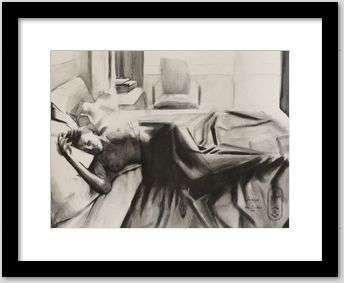 cubist nude art graf pencil drawing framing example