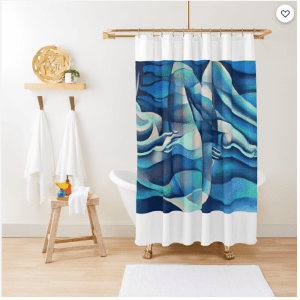 cubist nude pastel drawing shower curtain mockup