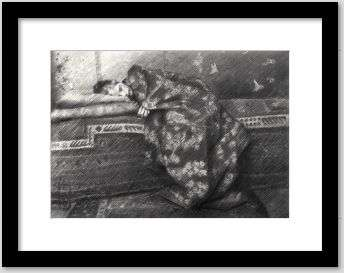 impressionist girl graphite pencil drawing framed example
