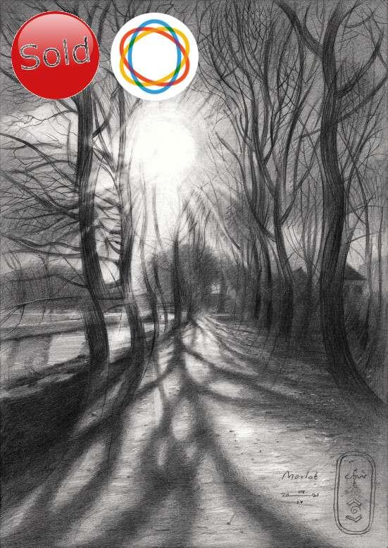 cubist treescape graphite pencil drawing saatchiart sale promotion