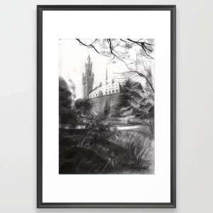 impressionist urban graphite pencil drawing framed art print mockup