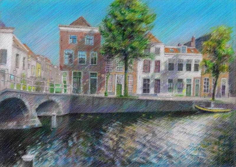 impressionist urban colored pencil drawing