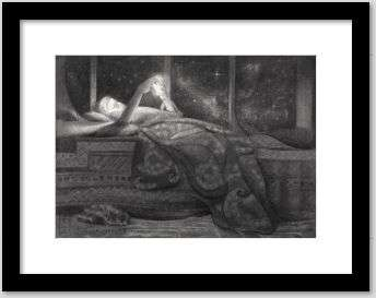 surrealist girl graphite pencil drawing framed example