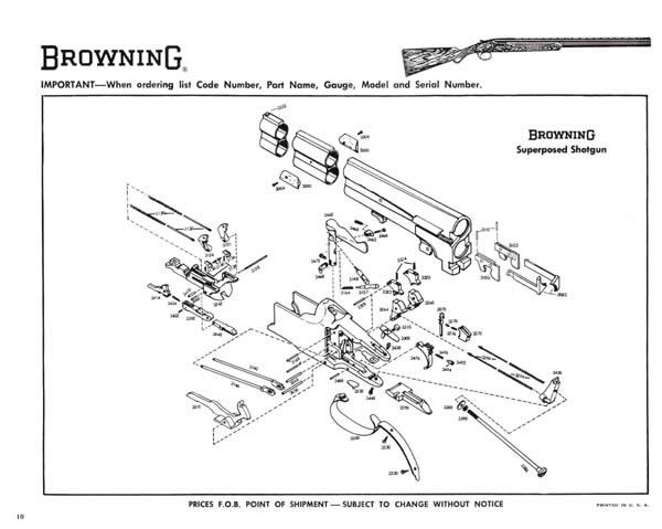 Browning 1967 Shotguns Rifles And Pistols Exploded View