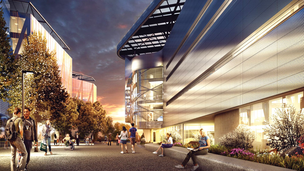 Cornell Tech's Roosevelt Island campus, as depicted in this rendering, will collaborate with Citigroup this fall.
