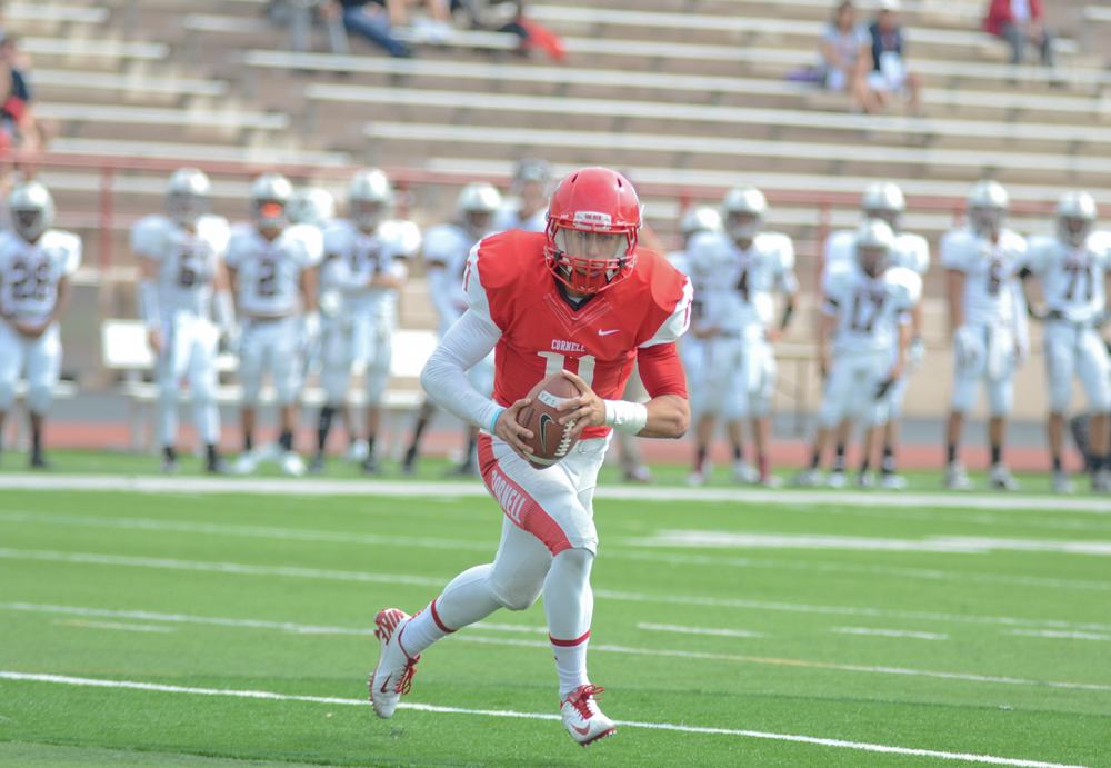 Alejandro Hernandez / Sun File Photo  A 26-0 run during the final three quarters powered junior Rob Pannull and Cornell to a 33-7 victory over Mansfield.