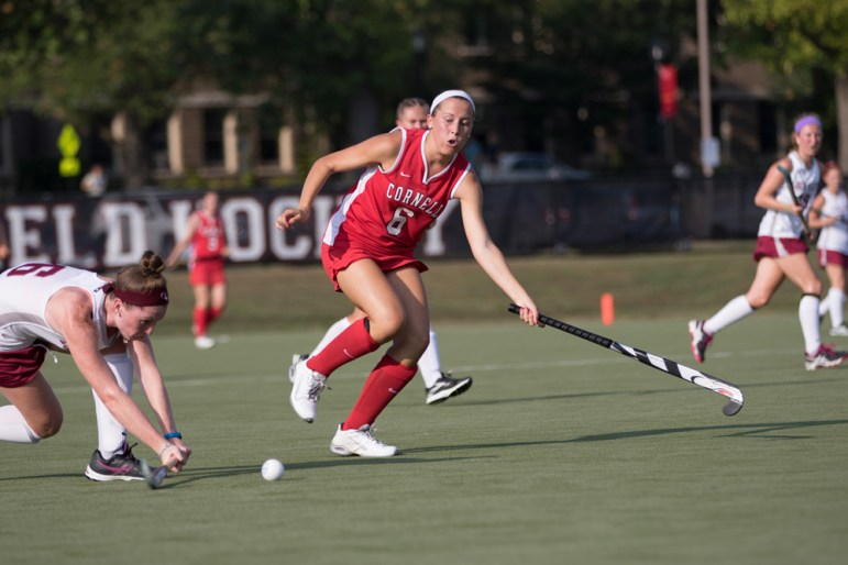 Sophomore Katie Carlson ranks sixth on the Cornell field hockey team in shots on goal. In addition, Carlson is tied for fourth in the team lead for goals for the Red. (Jason Ben Nathan / Sun Staff Photographer)