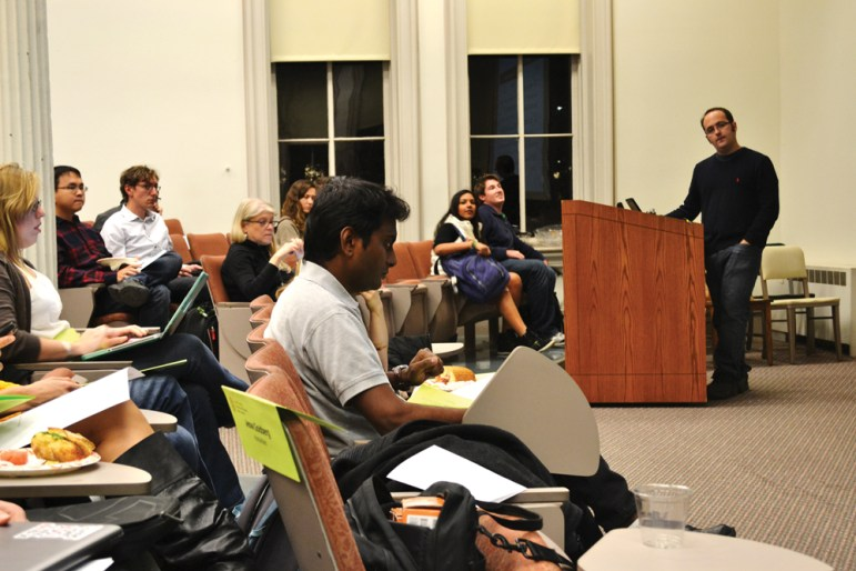 Members of the Graduate and Professional Student Assembly vote 2-9-4 against a recommendation to increase funding to Cornell Cinema at a Monday meeting. (Vivian Vazquez / Sun Staff Photographer)