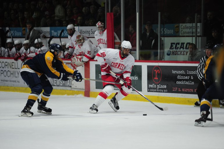 The Red got off to a strong start to the new season, sweeping the weekend home-and-home series against Niagara while scoring seven goals. The team will face off against Quinnipiac and Princeton this weekend. (Brittney Chew / Sun News Photography Editor)