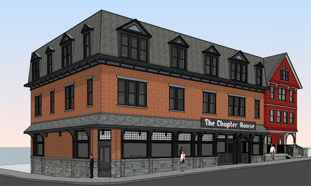 A rendering of the proposed building features a red brick exterior with black trim and bluestone, which mimics some of the defining aesthetics of the old Chapter House.