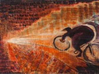 "David Burliuk (1882-1967), Futurist Painting ""Cyclist"", 1916"