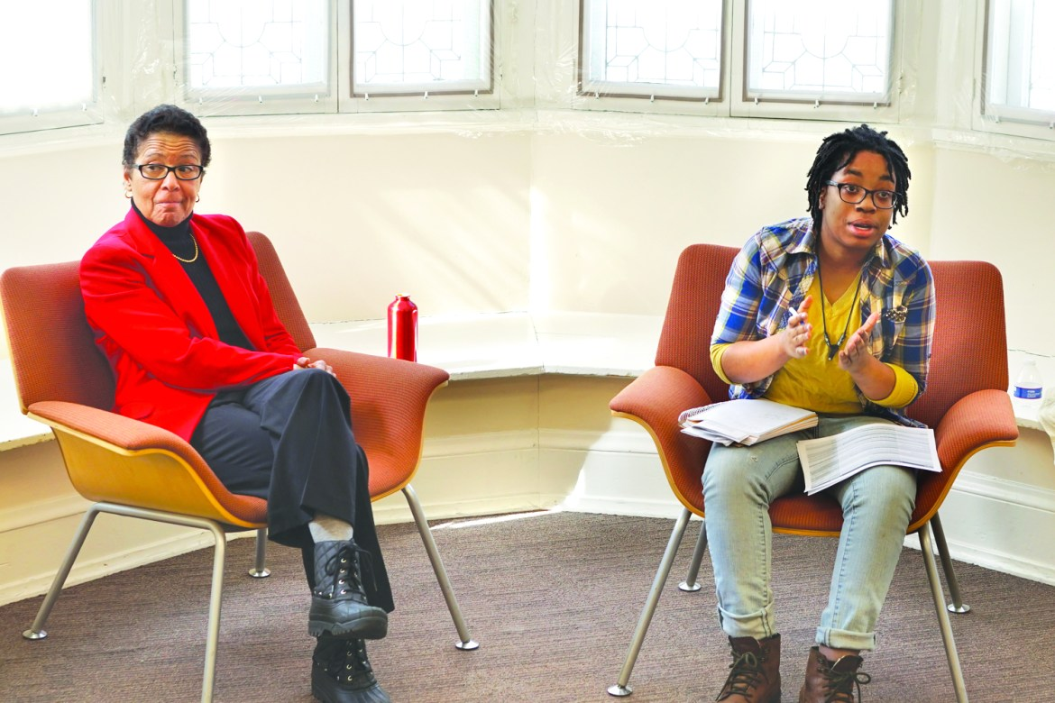Renee Alexander '74 and Amber Aspinall '17 discuss demands set by Black Students United at the Cornell Center for Intercultural Dialogue.