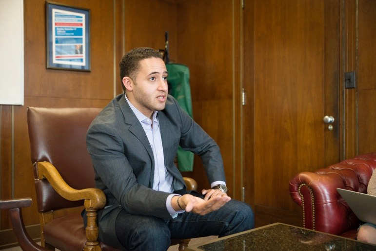 Mayor Svante Myrick '09 calls a supervised injection facility the best way to prevent overdoses at a meeting in February.