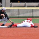 Junior infielder Tommy Wagner slides into second. He had three hits in Cornell's victory over Northeastern.