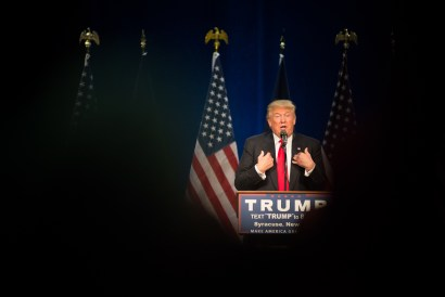 Donald Trump takes the stage in Syracuse Saturday.
