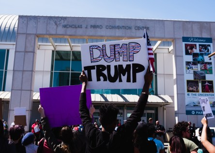 Protestors demonstrate again Republican presidential candidate Donald Trump with signs and chants.