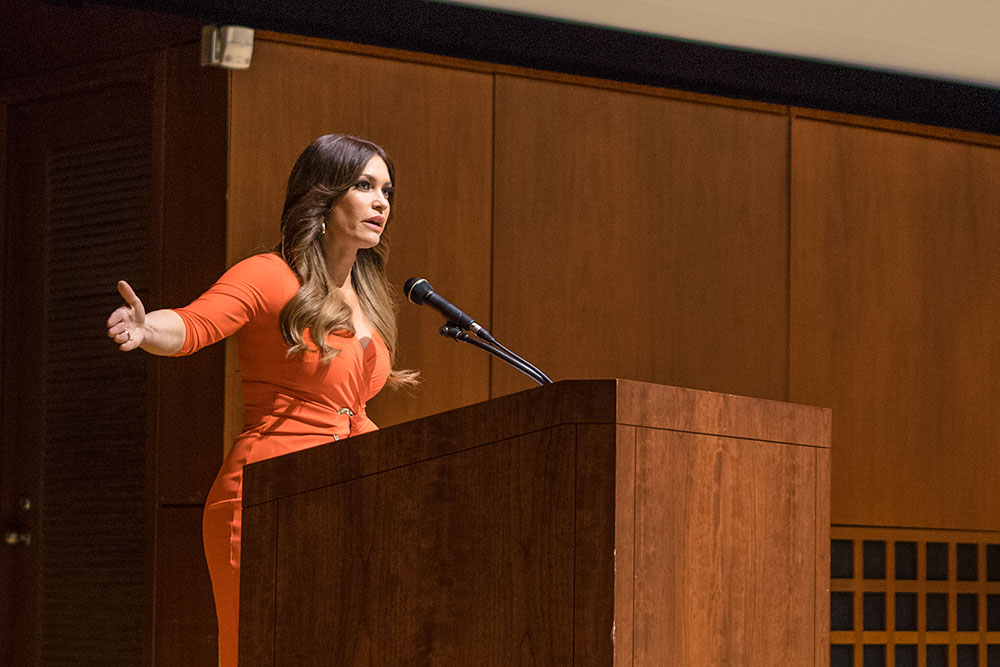 Kimberly Guilfoyle discusses her path from being a lawyer in California to co-hosting The Five in a lecture Tuesday.