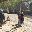 Students surveying land for Bridge Construction