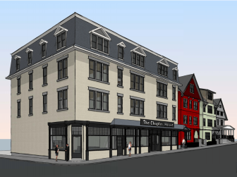 A rendering shows plans for a new Chapter House structure, which will connect to the upper floors of two adjacent houses to the North.