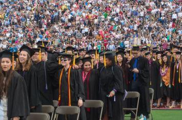 Graduating seniors listen to Kotlikoff's address before receiving their diplomas.