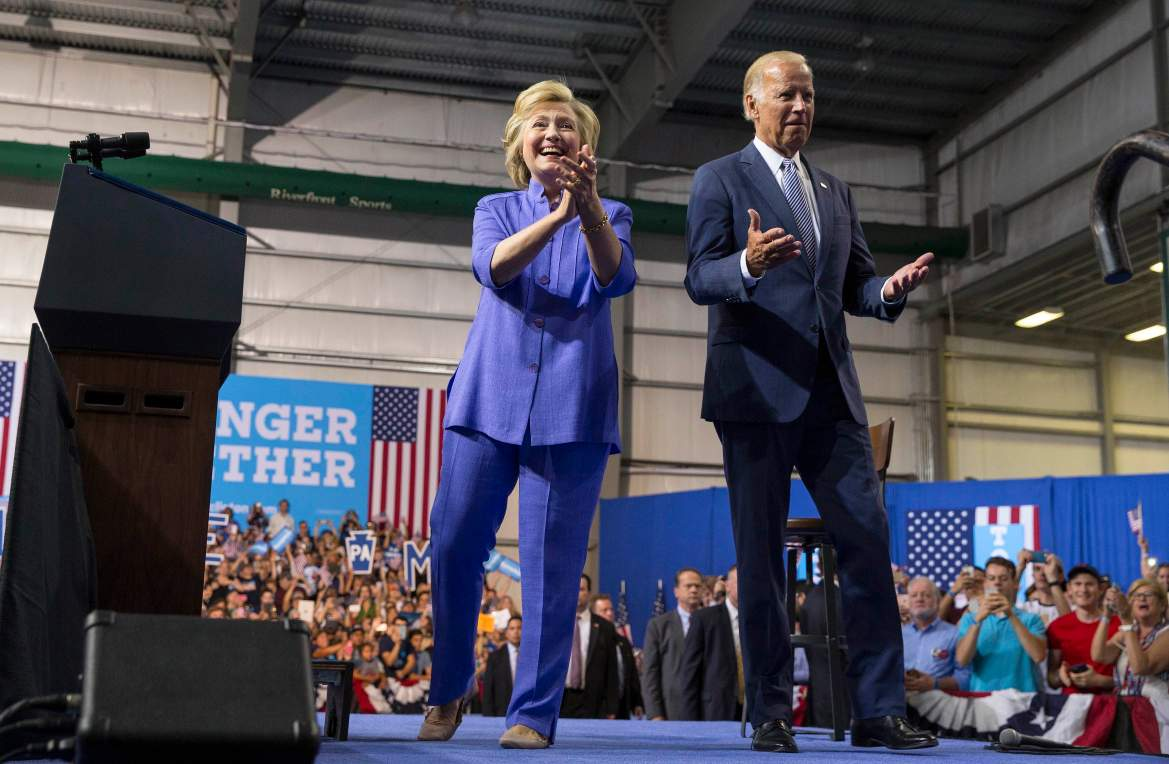 Hillary Clinton, the Democratic presidential nominee, campaigns with Vice president Joe Biden during a rally at the Riverfront Sports Complex in Scranton, Pa.