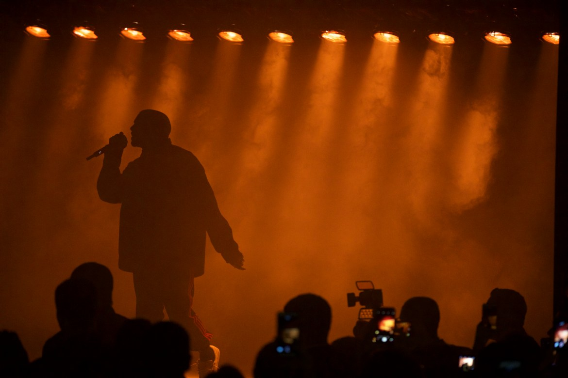 Kanye West performs at the Harper's Bazaar Icons party at the Plaza Hotel, during New York Fashion Week on Sept. 9.