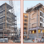 This photo sequence documents various stages of the construction of the Collegetown Crossing project, which includes five upper stories of apartments and a TCAT bus stop.