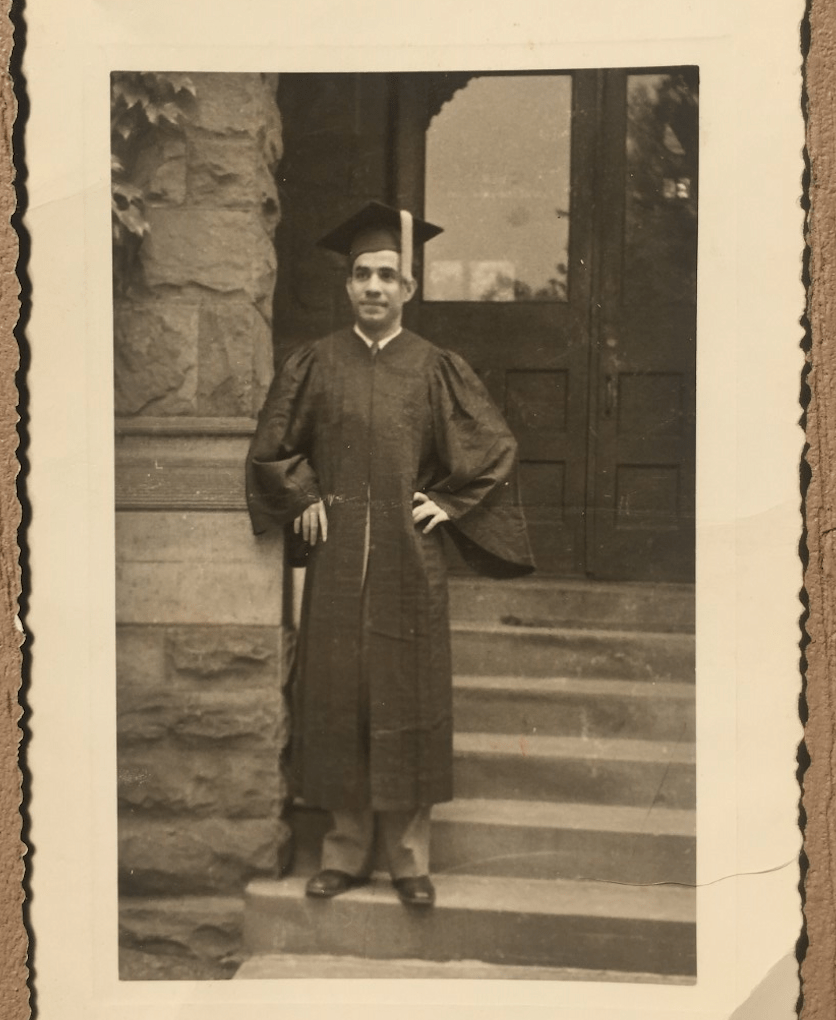 Meir Sofair '42 stands in front of Lincoln Hall on his graduation day in 1942.